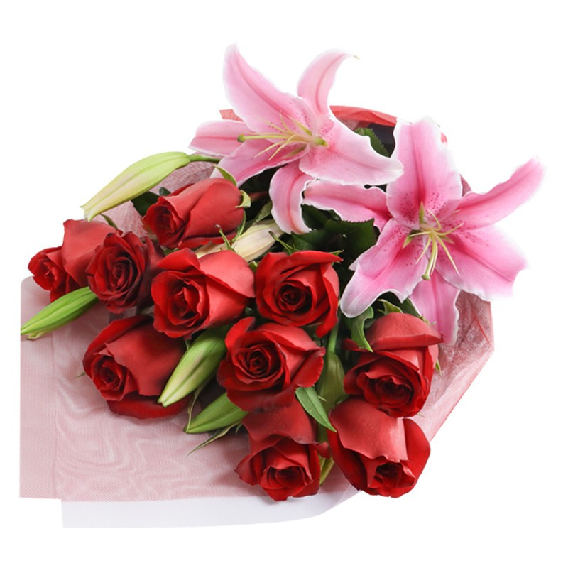 Ramo de Rosas Rojo/Rosado con Lilium Perfumado
