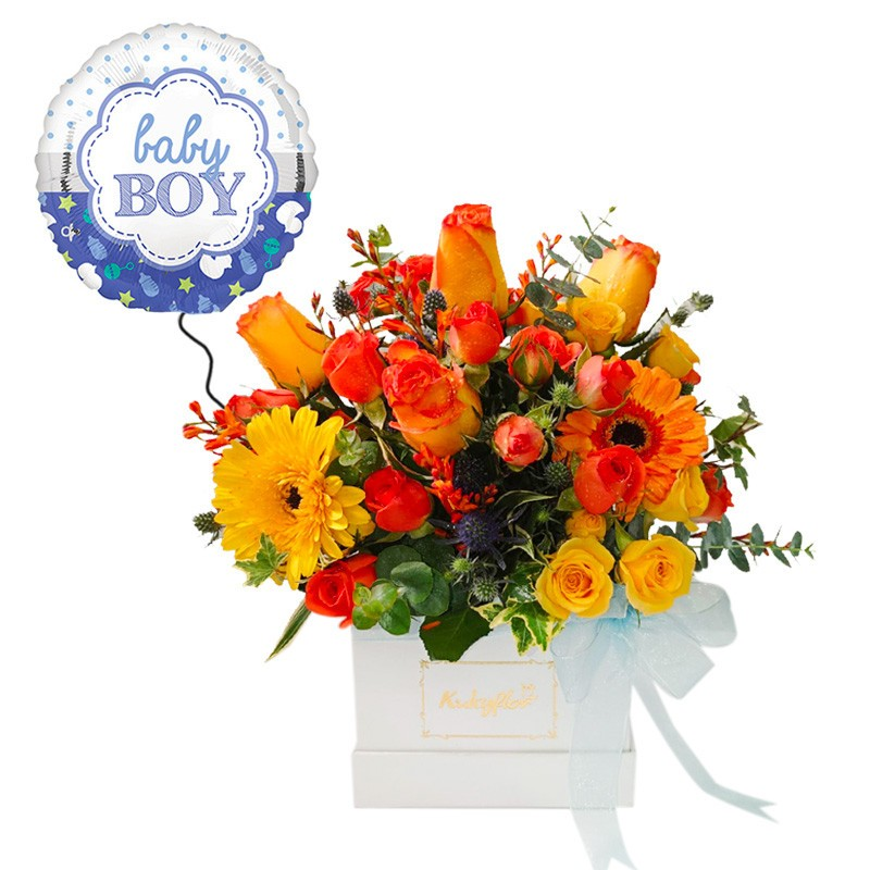 Box Blanco con Flores Naranjas y Amarillas + Globo