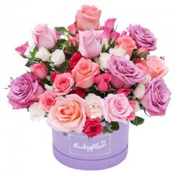 Box bajo con flores en tonos pasteles