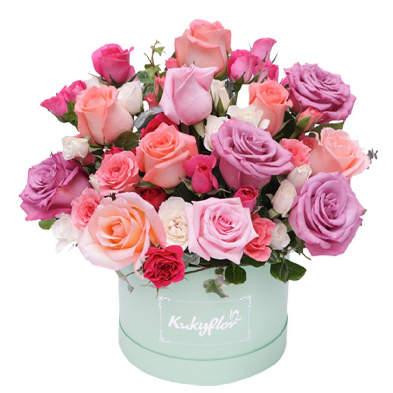 Box Verde con Flores Pasteles + Globo de cumpleaños