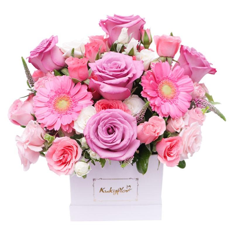 Box Blanco Rosas Pasteles