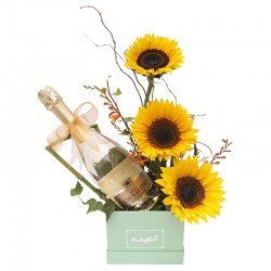 Box of Sunflowers with Giuletta Sparkling Wine