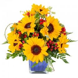 Vase Holder with 10 Sunflowers