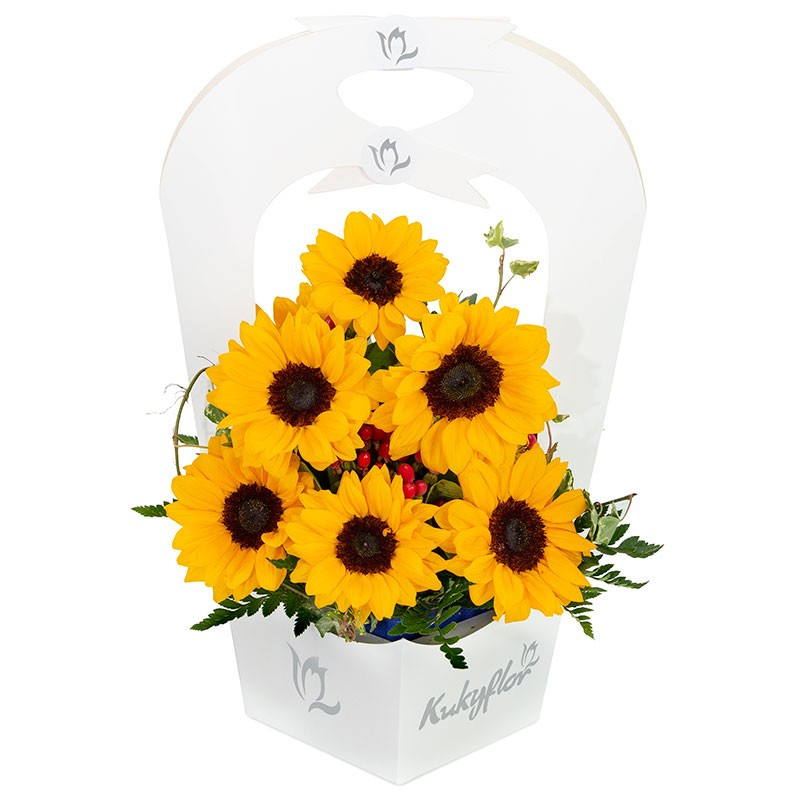 Vase Holder with 10 Sunflowers