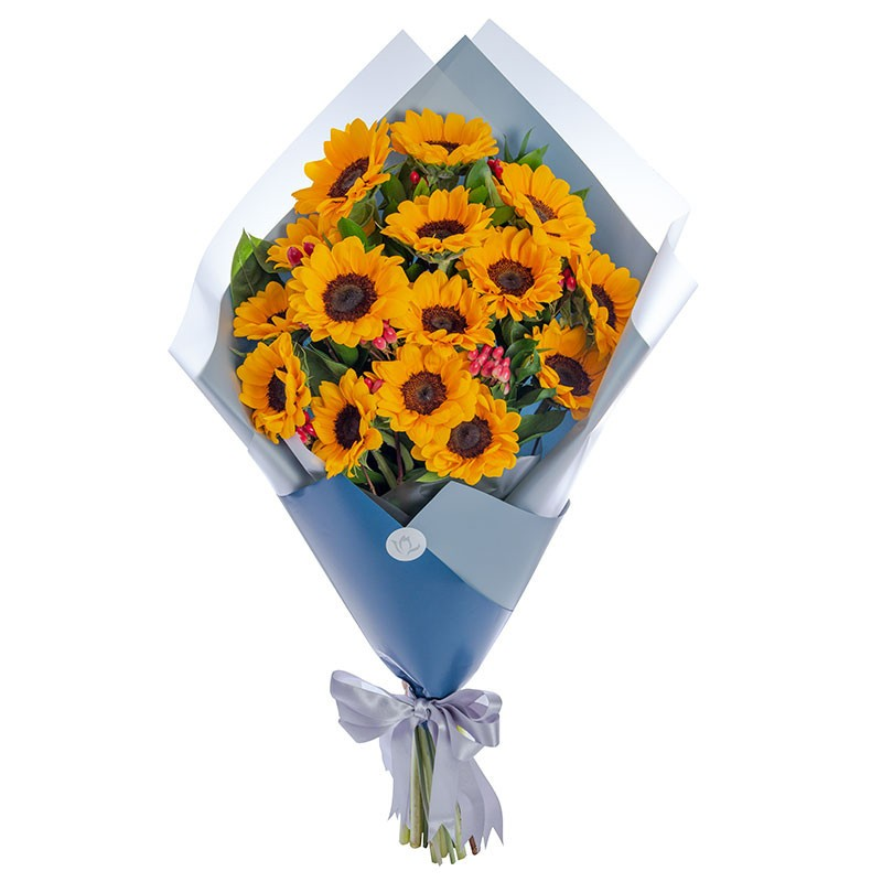 Premium Bouquet with 15 Sunflowers