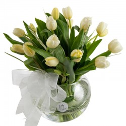 Fishbowl of 20 white tulips