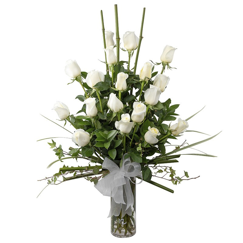 Vase of 18 white roses and bamboo