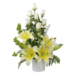 White rose arrangement with white lilies