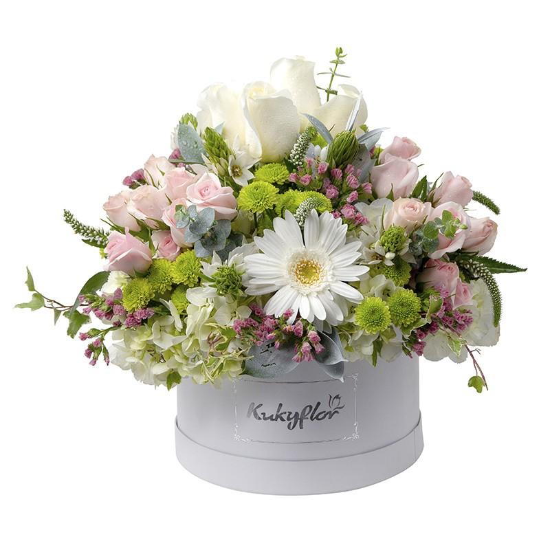 Box de rosas, mini rosas, Hortensias,y flores silvestres.