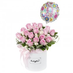 Box of roses, mini roses with a girl's balloon.