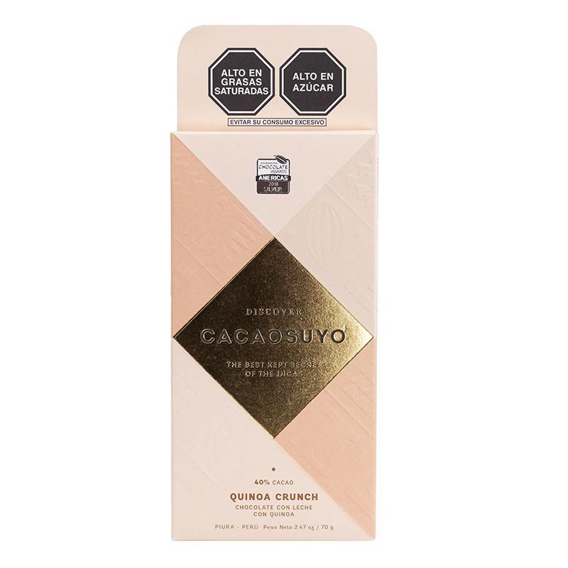 Chocolate tableta cacaosuyo quinoa crunch 40 % de cacao con leche