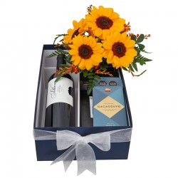 Box for Him with Sunflower, Sottano Malbec Wine, Ground Coffee, Chocolate with 80% cocoa.