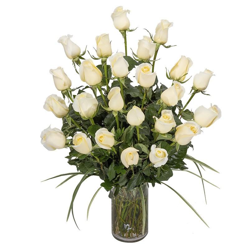 Vase of 24 white roses