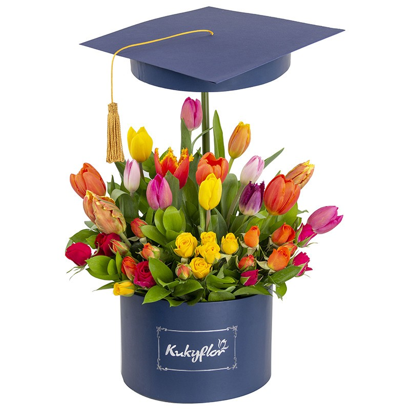 Low box with 15 assorted tulips and 6 assorted minirosas graduated