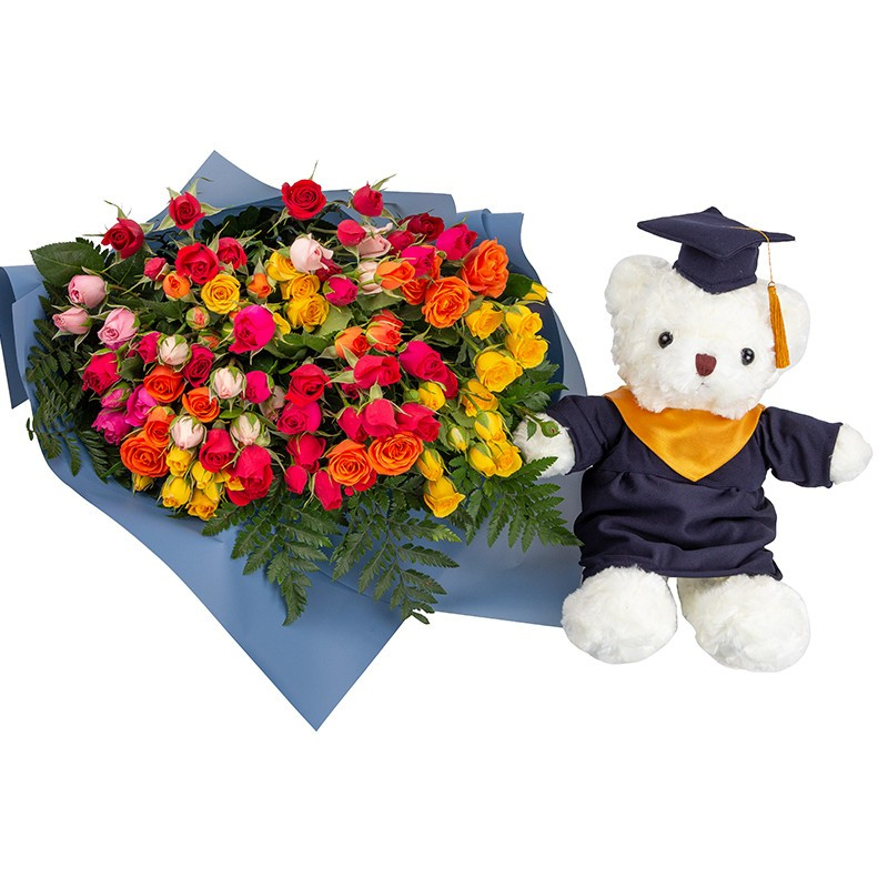 Premium bouquet with 20 mini mixed roses with dany teddy